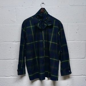 SALE J.G. Hook Navy Green Plaid Pussybow Blouse